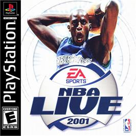 Box cover for NBA Live 2001 on the Sony Playstation.