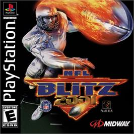 Box cover for NFL Blitz 2001 on the Sony Playstation.