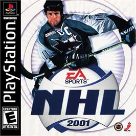 Box cover for NHL 2001 on the Sony Playstation.