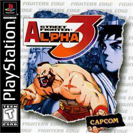 Box cover for Street Fighter Alpha 3 on the Sony Playstation.