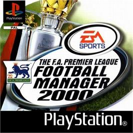 Box cover for The F.A. Premier League Football Manager 2000 on the Sony Playstation.