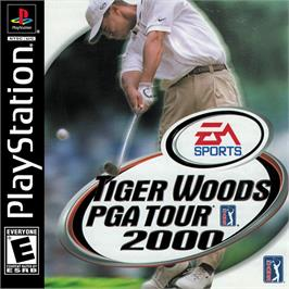 Box cover for Tiger Woods PGA Tour 2000 on the Sony Playstation.