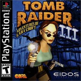 Box cover for Tomb Raider III: Adventures of Lara Croft on the Sony Playstation.