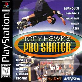 Box cover for Tony Hawk's Pro Skater on the Sony Playstation.