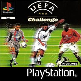 Box cover for UEFA Challenge on the Sony Playstation.