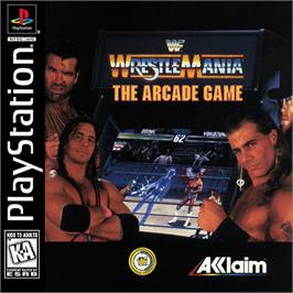Box cover for WWF Wrestlemania: The Arcade Game on the Sony Playstation.