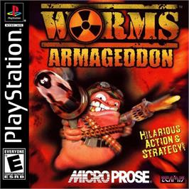 Box cover for Worms Armageddon on the Sony Playstation.