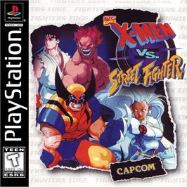 Box cover for X-Men vs. Street Fighter on the Sony Playstation.