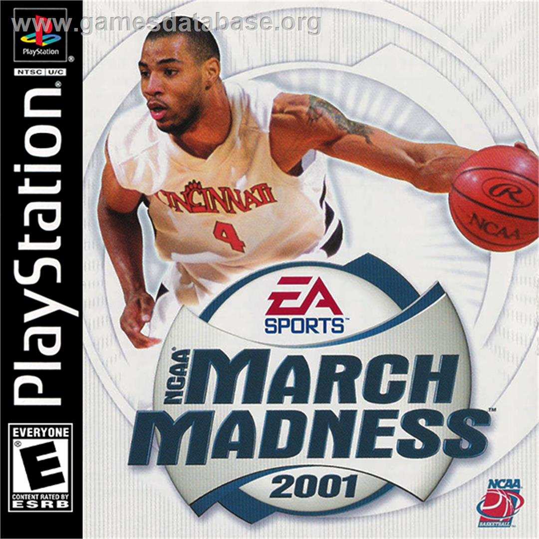 Box cover for NCAA March Madness 2001 on the Sony Playstation.