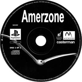 Artwork on the CD for AmerZone: The Explorer's Legacy on the Sony Playstation.