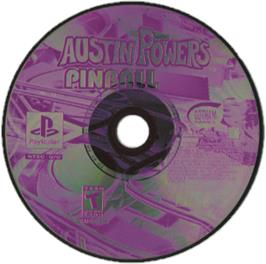 Artwork on the CD for Austin Powers Pinball on the Sony Playstation.