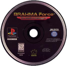 Artwork on the CD for BRAHMA Force: The Assault on Beltlogger 9 on the Sony Playstation.