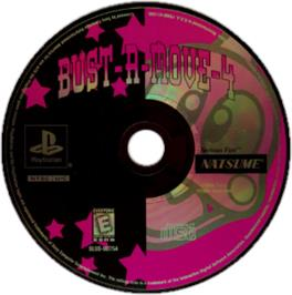 Artwork on the CD for Bust-A-Move 4 on the Sony Playstation.