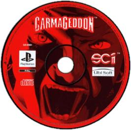 Artwork on the CD for Carmageddon on the Sony Playstation.