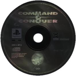 Artwork on the CD for Command & Conquer: Red Alert on the Sony Playstation.