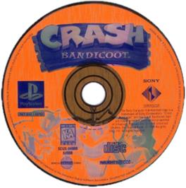 Artwork on the CD for Crash Bandicoot on the Sony Playstation.