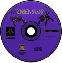 Artwork on the CD for Cyber Sled on the Sony Playstation.