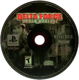 Artwork on the CD for Delta Force: Urban Warfare on the Sony Playstation.