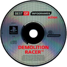 Artwork on the CD for Demolition Racer on the Sony Playstation.