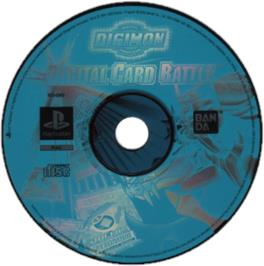 Artwork on the CD for Digimon Digital Card Battle on the Sony Playstation.