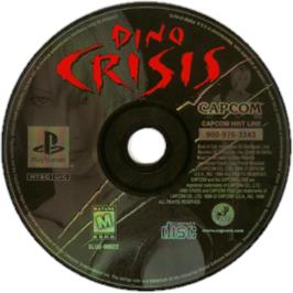 Artwork on the CD for Dino Crisis on the Sony Playstation.