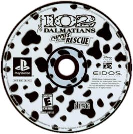Artwork on the CD for Disney's 102 Dalmatians: Puppies to the Rescue on the Sony Playstation.