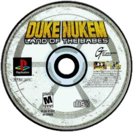 Artwork on the CD for Duke Nukem: Land of the Babes on the Sony Playstation.