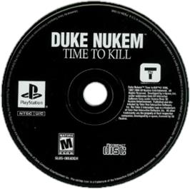 Artwork on the CD for Duke Nukem: Time to Kill on the Sony Playstation.