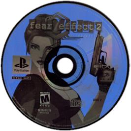 Artwork on the CD for Fear Effect 2: Retro Helix on the Sony Playstation.