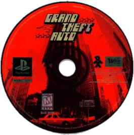 Artwork on the CD for Grand Theft Auto on the Sony Playstation.