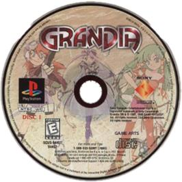 Artwork on the CD for Grandia on the Sony Playstation.