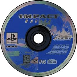 Artwork on the CD for Impact Racing on the Sony Playstation.