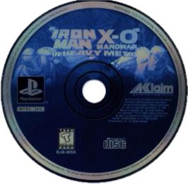 Artwork on the CD for Iron Man / X-O Manowar in Heavy Metal on the Sony Playstation.