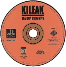 Artwork on the CD for Kileak: The DNA Imperative on the Sony Playstation.