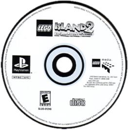 Artwork on the CD for LEGO Island 2: The Brickster's Revenge on the Sony Playstation.