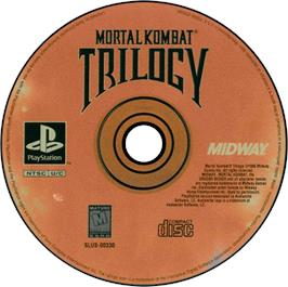 Artwork on the CD for Mortal Kombat Trilogy on the Sony Playstation.