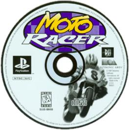 Artwork on the CD for Moto Racer on the Sony Playstation.