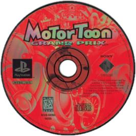 Artwork on the CD for Motor Toon Grand Prix on the Sony Playstation.