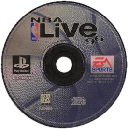 Artwork on the CD for NBA Live 96 on the Sony Playstation.
