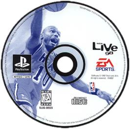 Artwork on the CD for NBA Live 98 on the Sony Playstation.