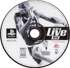 Artwork on the CD for NBA Live 99 on the Sony Playstation.