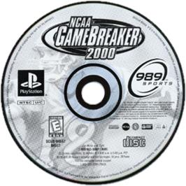 Artwork on the CD for NCAA GameBreaker 2000 on the Sony Playstation.