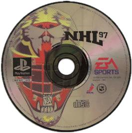 Artwork on the CD for NHL 97 on the Sony Playstation.