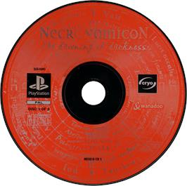 Artwork on the CD for Necronomicon: The Dawning of Darkness on the Sony Playstation.