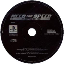 Artwork on the CD for Need for Speed: Porsche Unleashed on the Sony Playstation.