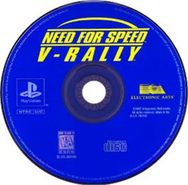 Artwork on the CD for Need for Speed: V-Rally on the Sony Playstation.