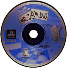 Artwork on the CD for No One Can Stop Mr. Domino on the Sony Playstation.