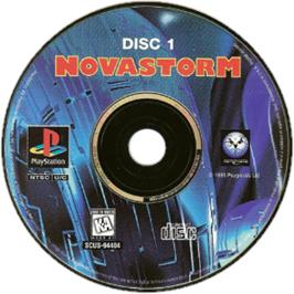 Artwork on the CD for Novastorm on the Sony Playstation.