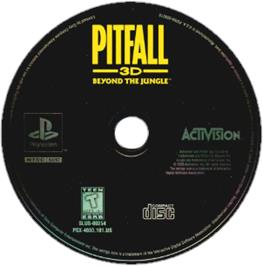 Artwork on the CD for Pitfall 3D: Beyond the Jungle on the Sony Playstation.
