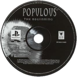 Artwork on the CD for Populous: The Beginning on the Sony Playstation.